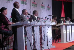 The candidates at the third and final debate at  Hotel Victoria, Blantyre
